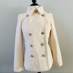 J.CREW off white wool double breasted pea coat M